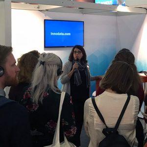 Lisa Indovino speaking at the frankfurt bookfair